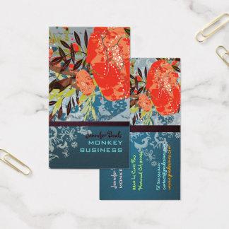 Rétro floral de PixDezines Tuscanini + sarcelle Cartes De Visite
