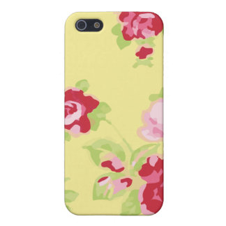Rétro floral jaune Girly iPhone 5 Case