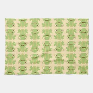 Retro Groene Patroon van de Kikker Keuken Handdoeken