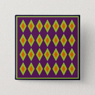 Rétro harlequin orange de chaux badge carré 5 cm