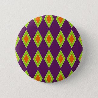 Rétro harlequin orange de chaux badge rond 5 cm