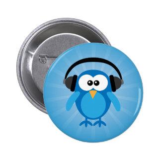 Rétro hibou bleu génial avec des écouteurs badge rond 5 cm