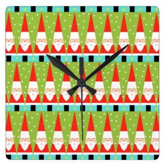 Rétro horloge murale carrée géométrique de Père