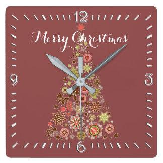 Horloge Carrée Rétro horloge murale de carré d'arbre de Noël