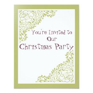 Rétro invitation de Noël de vert