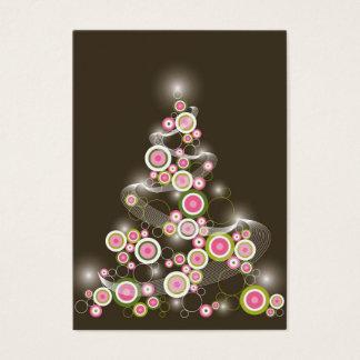 Rétro invitation rose d'arbre de Noël de cercles