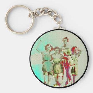 Rétro jour de filles à la plage porte-clés