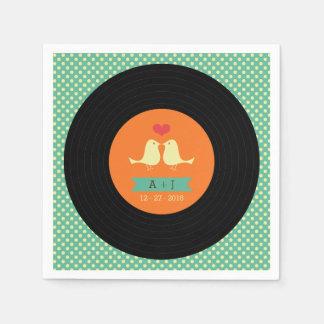 Rétro mariage moderne de disque vinyle serviettes en papier