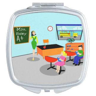 Rétro miroir de maquillage de professeur