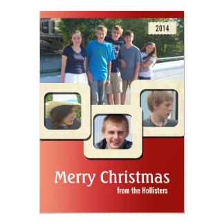 Retro Moderne Rode Kerstmis van vier Foto 12,7x17,8 Uitnodiging Kaart