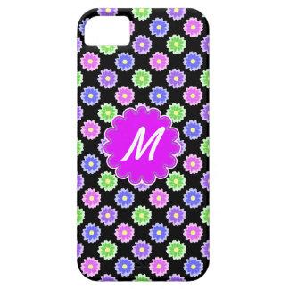 Rétro monogramme coloré de motif de fleur coque iPhone 5 Case-Mate