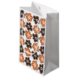 Rétro motif de fleurs orange et noir petit sac cadeau