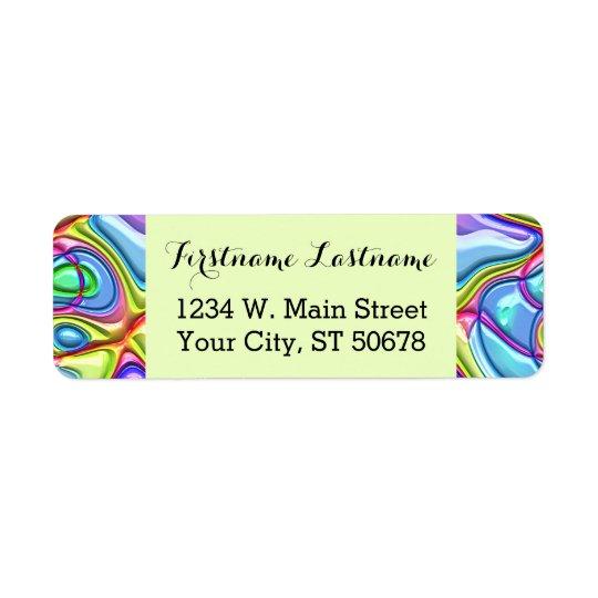 Rétro motif de vagues coloré abstrait génial de étiquette d'adresse retour
