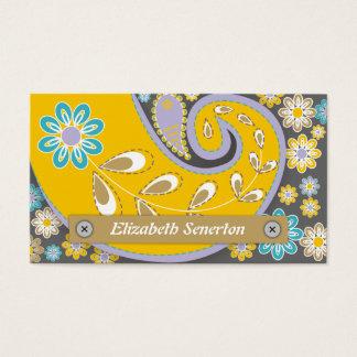 Rétro motif jaune et gris de Paisley Carte De Visite Standard