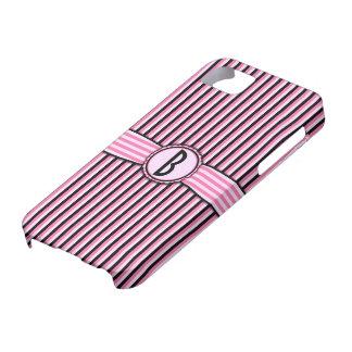 Rétro motif rayé noir rose Girly de monogramme iPhone 5 Case
