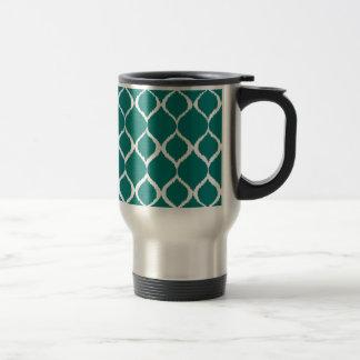 Rétro motif tribal géométrique turquoise mug de voyage