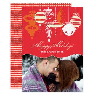 Rétro Noël ornemente la photo de vacances de Carton D'invitation 12,7 Cm X 17,78 Cm