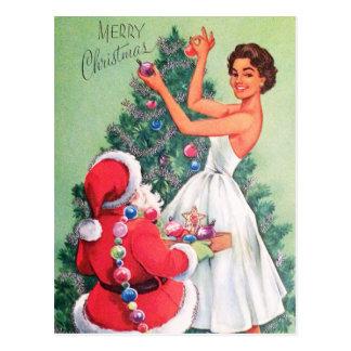Rétro Noël vintage Père Noël et carte postale de