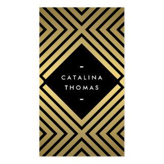 Rétro noir audacieux de mod et motif d'or carte de visite standard