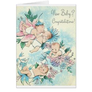 Rétro nouvelle carte de félicitations de bébé