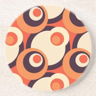 Retro Oranje en Bruine Abstracte Art. van Jaren Zandsteen Onderzetter
