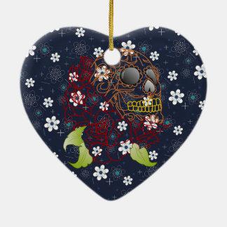 rétro ornement bleu de Noël de crâne de fleur