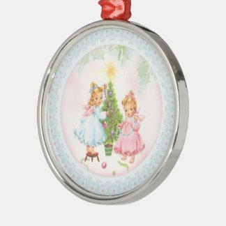 Rétro ornement d'arbre de vacances de Noël d'anges
