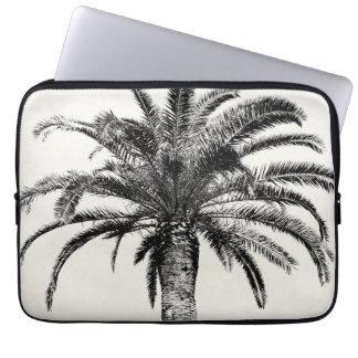 Rétro palmier tropical d'île en noir et blanc trousses ordinateur