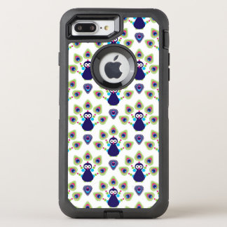 rétro paon exotique de l'Inde Coque OtterBox Defender iPhone 8 Plus/7 Plus