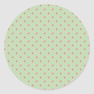 Rétro point de polka de vert et de melon sticker rond