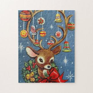 Rétro puzzle vintage de vacances de renne de Noël