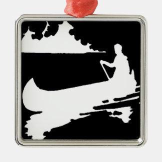 Rétro silhouette de canoë ornement carré argenté