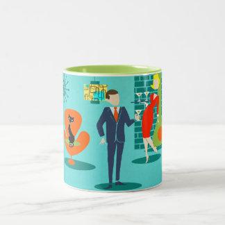 Rétro tasse de café de couples de bande dessinée