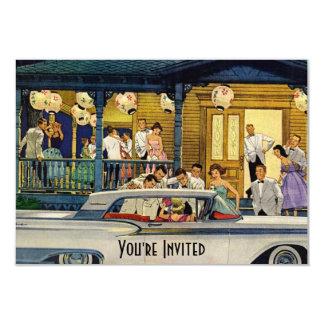Rétro temps V2 de partie Carton D'invitation 8,89 Cm X 12,70 Cm