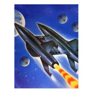 Rétro trois terres de Sci fi vaisseau spatial Cartes Postales