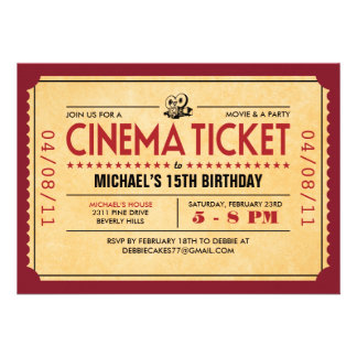 Retro Uitnodigingen van het Kaartje van de Film