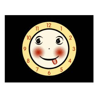 Rétro visage d'horloge maladroit carte postale