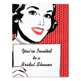 Retro Vrouw met een Vrijgezellenfeest van het 10,8x13,9 Uitnodiging Kaart