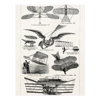 Rétros avions d'avions de dirigeables vintages cartes postales