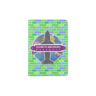 Rétros briques de vert d'autocollant de voyage protège-passeport