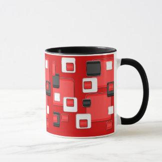 Rétros carrés noirs et blancs rouges de regard mug