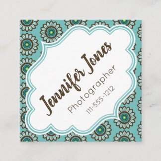 Retro Stylized Teal Flower Square Business Cards