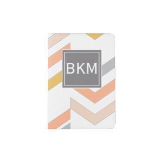 Rétros chevrons modernes motif, monogramme, corail protège-passeport