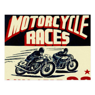 Rétros courses vintages de moto de Langhorn de Carte Postale