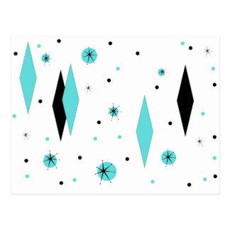 Rétros diamants de turquoise et carte postale de