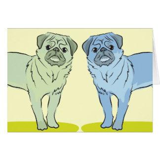 RÉTROS différents chiens colorés de carlin Cartes