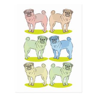 RÉTROS différents chiens colorés de carlin Cartes Postales