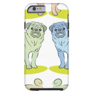 RÉTROS différents chiens colorés de carlin Coque iPhone 6 Tough