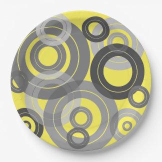 Rétros disques vinyle d'anneaux concentriques assiettes en papier