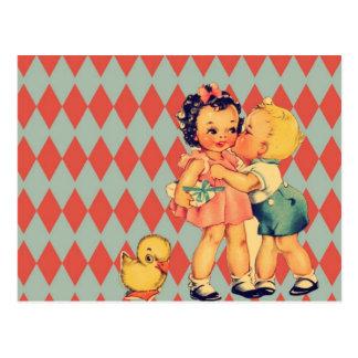 Rétros enfants mignons de cru de motif cartes postales